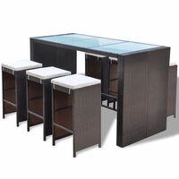 vidaXL Mesa y sillas bar de jardín 7 pzas y cojines poli ratán marrón