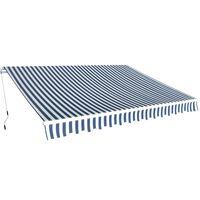 vidaXL Toldo plegable de operación manual 350 cm azul y blanco