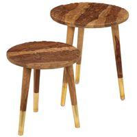 vidaXL Mesas de centro 2 piezas madera maciza de sheesham
