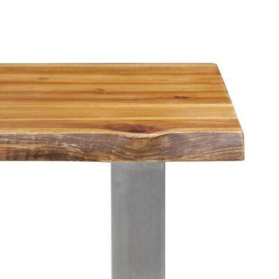 vidaXL Banco de madera maciza de acacia y acero inoxidable 140 cm