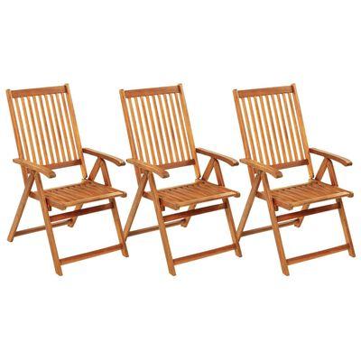 vidaXL Sillas de jardín plegables 3 uds madera maciza acacia cojines