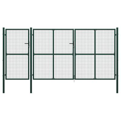 vidaXL Puerta de jardín de acero verde 400x150 cm