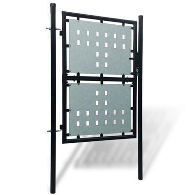 Verja negra con una puerta de entrada, 100 x 200 cm