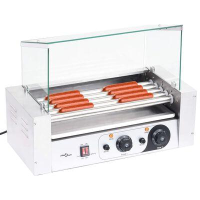 vidaXL Máquina de perritos calientes 5 rodillos tapa de vidrio 1000 W