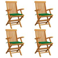 vidaXL Sillas de jardín 4 uds con cojines verdes madera de teca
