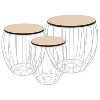 vidaXL Mesas de centro 3 piezas madera contrachapada álamo y hierro