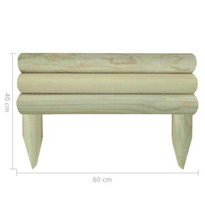 vidaXL Valla de troncos borde de jardín 6 unidades madera pino 60 cm
