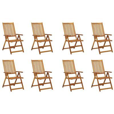 vidaXL Sillas de jardín plegables y cojines 8 uds madera maciza acacia
