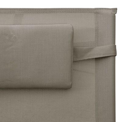 vidaXL Tumbona de textilene taupé y gris
