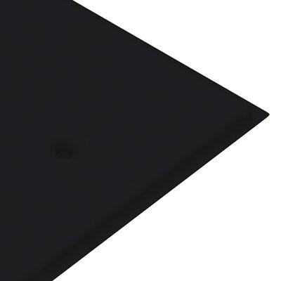vidaXL Banco de jardín madera maciza teca con cojín negro 150 cm