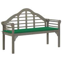 vidaXL Banco de jardín queen y cojín madera maciza acacia gris 135 cm