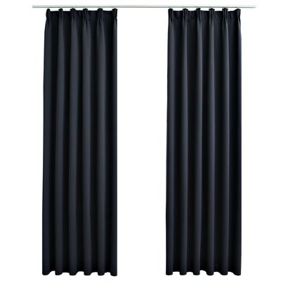 vidaXL Cortinas opacas con ganchos 2 piezas gris antracita 140x245 cm