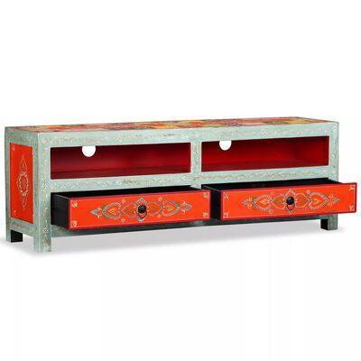 vidaXL Mueble para la TV de madera de mango maciza pintada a mano