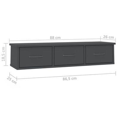 vidaXL Estante con cajones de pared aglomerado gris 88x26x18,5 cm