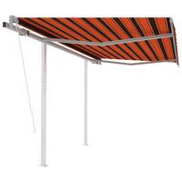vidaXL Toldo retráctil automático con postes naranja y marrón 3x2,5 m