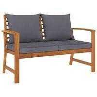vidaXL Banco de jardín 120 cm cojines gris oscuro madera acacia maciza