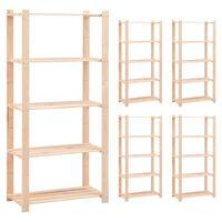 vidaXL Estantería 5 niveles 5 unidades madera pino maciza 250 kg