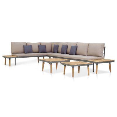 vidaXL Juego muebles de jardín 5 pzas y cojines madera acacia marrón