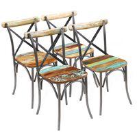 vidaXL Sillas de comedor 4 unidades madera maciza reciclada
