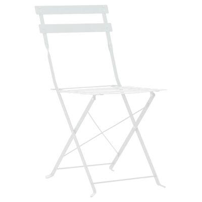 vidaXL Mesa y sillas bistró de jardín 3 piezas acero blanco
