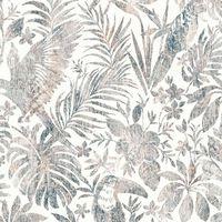 DUTCH WALLCOVERINGS Papel pintado hojas y tucán beige