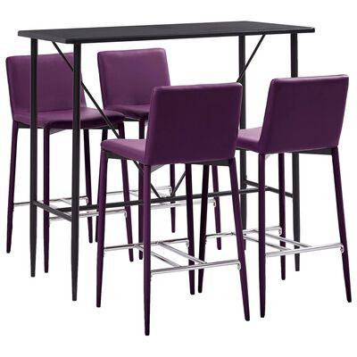 vidaXL Juego de mesa alta y taburetes 5 piezas cuero sintético morado