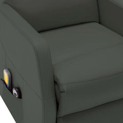 vidaXL Sillón de masaje reclinable de cuero sintético gris antracita