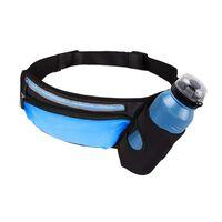 Riñonera deportiva con portabotellas - azul / negro