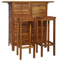 vidaXL Set mesa de bar y sillas 3 piezas de madera de acacia maciza