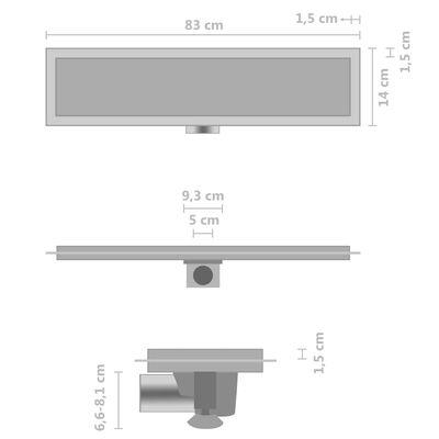 vidaXL Desagüe de ducha con cubierta 2 en 1 acero inoxidable 83x14 cm
