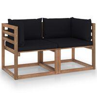 vidaXL Sofá de palets de jardín 2 plazas cojines negro madera de pino