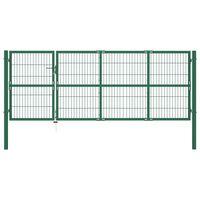 vidaXL Puerta de valla de jardín con postes acero verde 350x120 cm