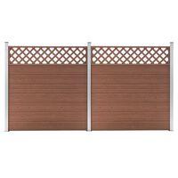vidaXL Set de 2 vallas cuadradas WPC marrón 353x185 cm