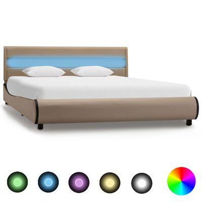 vidaXL Estructura de cama con LED cuero sintético capuchino 140x200 cm