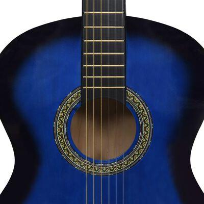 """vidaXL Guitarra clásica para principiantes madera de tilo azul 4/4 39"""""""