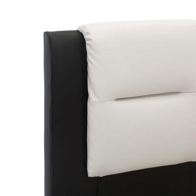 vidaXL Estructura de cama de cuero sintético negro y blanco 90x200 cm