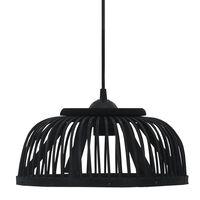 vidaXL Lámpara colgante bambú negra 40 W 30x12 cm semicírculo E27