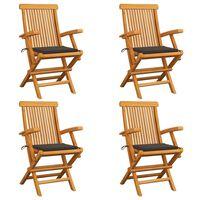 vidaXL Sillas de jardín 4 uds con cojines gris taupe madera de teca