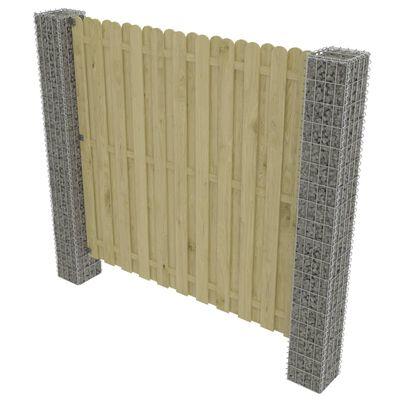 vidaXL Valla jardín con postes de gaviones madera pino 180x180cm