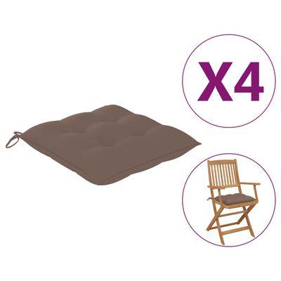 vidaXL Cojines de silla 4 unidades tela gris taupé 40x40x7 cm
