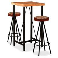 vidaXL Mesa y 6 taburetes bar madera maciza acacia cuero real y lona