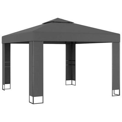 vidaXL Cenador con doble techo gris antracita 3x3 m