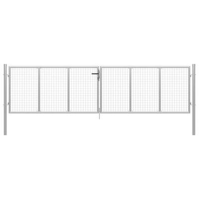 vidaXL Puerta de jardín de acero galvanizado plateado 415x175 cm