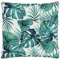 vidaXL Cojín de asiento de jardín de tela estampado hojas 50x50x10 cm
