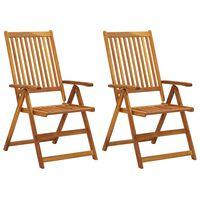 vidaXL Sillas de jardín reclinables 2 uds madera maciza de acacia