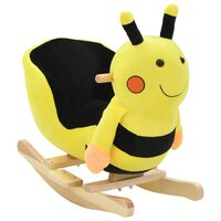 vidaXL Balancín de abeja de peluche con respaldo 60x32x57 cm amarillo