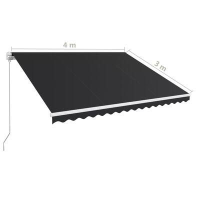 vidaXL Toldo retráctil manual gris antracita 400x300 cm