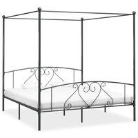 vidaXL Estructura de cama con dosel metal gris 200x200 cm