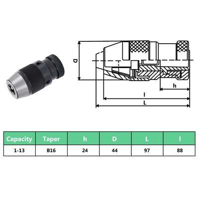 vidaXL Portabrocas de liberación rápida MT2-B16 rango de sujeción 13mm