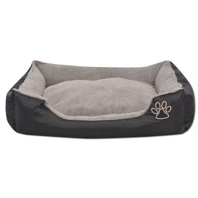 vidaXL Cama para perro con cojín acolchado XXL negra